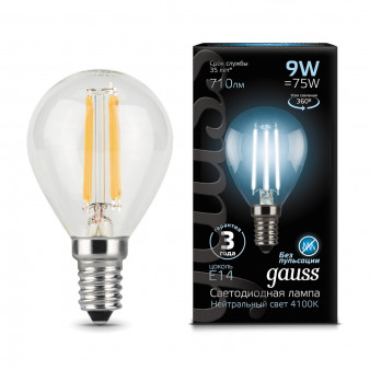 105801209 Лампа Gauss LED Filament Globe, E14, 9W, 4100K 1/1/50, шт