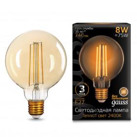 105802008 Лампа Gauss LED Filament G95 E27 8W Golden 740Lm 2400K 1/20