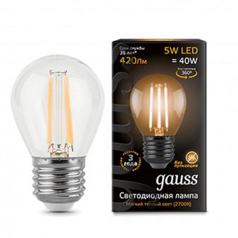 105802105 Лампа Gauss LED Filament Globe E27 5W 2700K 1/10/50, шт