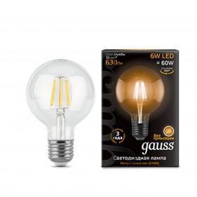 105802106 Лампа Gauss LED Filament G95 E27 6W 2700K 1/20, шт