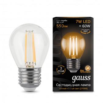 105802107 Лампа Gauss LED Filament Globe E27 7W 2700К 1/10/50, шт