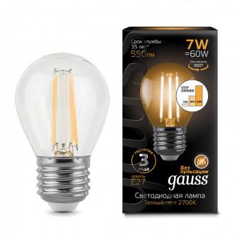 105802107-S Лампа Gauss LED Filament Globe E27 7W 550Lm 2700К step dimmable 1/10/50, шт