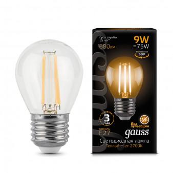 105802109 Лампа Gauss LED Filament Globe E27 9W 2700К 1/10/50, шт