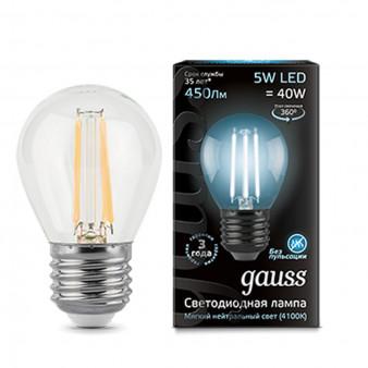 105802205 Лампа Gauss LED Filament Globe E27 5W 4100K 1/10/50, шт