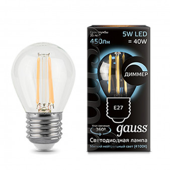 105802205-D Лампа Gauss LED Filament Шар dimmable E27 5W 450lm 4100K 1/10/50