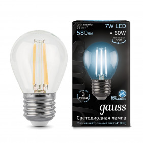 105802207 Лампа Gauss LED Filament Globe E27 7W 4100К 1/10/50, шт