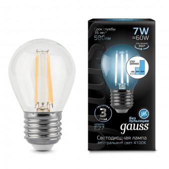 105802207-S Лампа Gauss LED Filament Globe E27 7W 580Lm 4100К step dimmable 1/10/50, шт