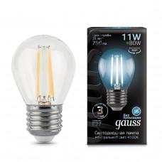 105802211 Лампа Gauss LED Filament Шар E27 11W 750lm 4100K 1/10/50