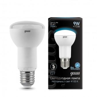 106002209 Лампа Gauss LED Reflector R63 E27 9W 4100K 1/10/40, шт