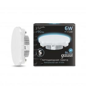 108008206 Лампа Gauss LED GX53 6W 4100K 1/10/50, шт