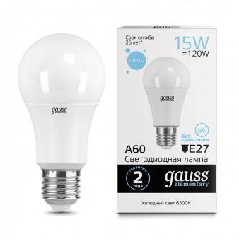 23235 Лампа Gauss LED Elementary A60 15W E27 1480lm 6500K 1/10/50