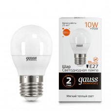 53210 Лампа Gauss LED Elementary Шар 10W E27 710lm 3000K 1/10/100
