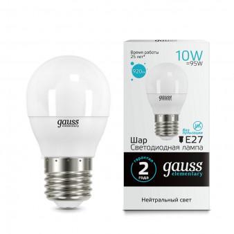 53220 Лампа Gauss LED Elementary Шар 10W E27 730lm 4100K 1/10/100