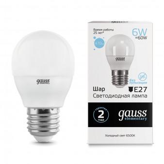 53236 Лампа Gauss LED Elementary Шар 6W E27 470lm 6500K 1/10/100