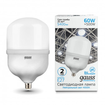 63226 Лампа Gauss Elementary LED T160 E27 60W 5400lm 5400lm 180-240V 4000K