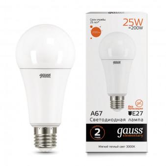 73215 Лампа Gauss LED Elementary A67 25W E27 2000lm 3000K 1/10/50