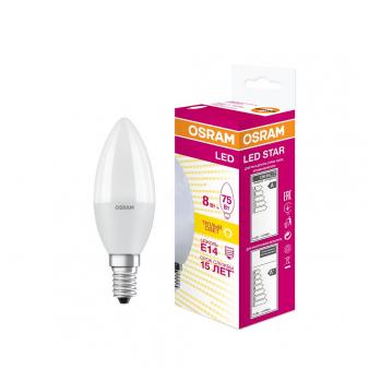 Светодиодная лампа LSCLB75 8W/830 230V E14 10X1  RU   OSRAM